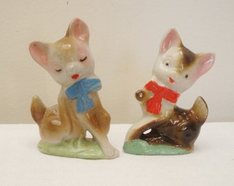 Vintage Pair of Ceramic Deer Figurines - Japan