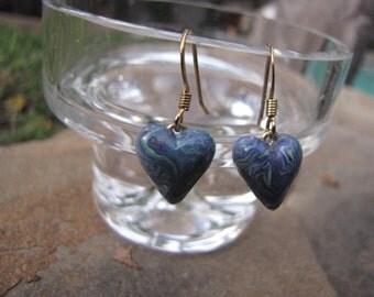 Vintage  Blue Heart Earrings