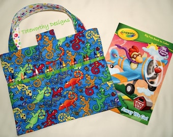 Kids Coloring Bag, Crayon Caddy, Geckos, Arts and Crafts Storage, Coloring Pages, Child Art Bag, Quiet Time Activity Tote, Kids Vacation Bag