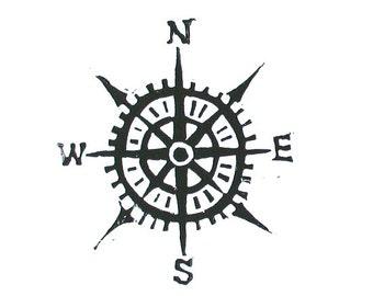 Compass linocut print - Cardinal directions letterpress nautical 8x10 art poster in black
