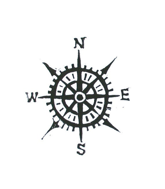 Compass linocut print - Cardinal directions letterpress nautical 8x10 art poster in black