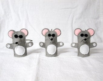 Three Blind Mice finger puppet, three blind mice, three blind mice felt finger puppet, finger puppet