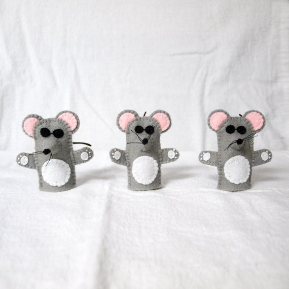 Three Blind Mice finger puppet handmade by Joanne Rich.