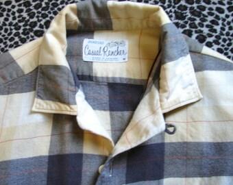 Vintage 1950s Mens Shirt , 50s Rockabilly Cowboy Western Shirt , Top button Loop  M  44 - on sale