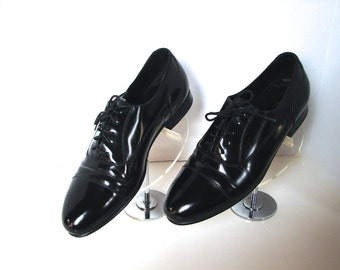 Vintage 40s Men's Shoes Mens - Florscheim Men's Black Lace up Cap Toe Dress Shoes US 9 - on sale