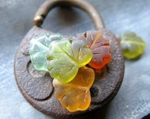 BACK IN STOCK Beach Glass Leaves . Czech Pressed Glass Beads (8 beads) 10 by 13 mm