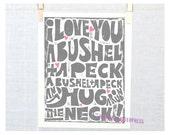 I Love You a Bushel and a Peck! Sign, Nursery Art Print, Wall Decor, Kitchen Art,