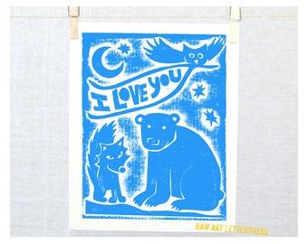 Woodland Animals, Owl Bear Fox,  I Love You Baby Art Print  Wall Art, Nursey Art Print