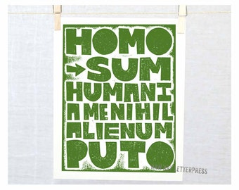 I am Human, so nothing Human is strange to me - Latin quote from Poet Terence,  Gift for therapist, 12 step sponsor gift, Homo sum, Wall Art