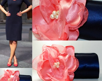 Navy and Coral Bridesmaid Party - Bridesmaid clutch   Bridesmaid  Bridesmaid Gift Idea - Bridal Accessories - Bridal Clutch - Custom clutch