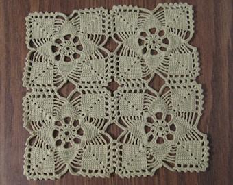 D-4. Square Crochet Doily / Crochet Lace Doily /  Inspiration / Green Dolly / light green doily