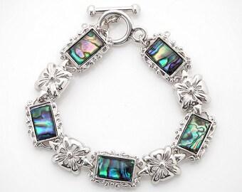 Mother of Pearl Flower Design Colorful Dark Green Rectangle Shell Link Bracelet