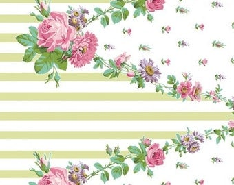 Amelie Garland Border Print Green CF2206-2 Cotton Fabric by Anna Griffin