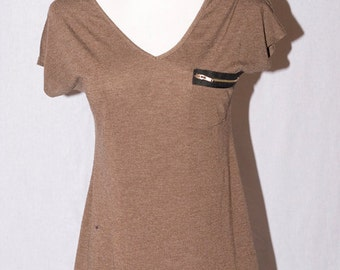 Upcyled Brown Top - Zipper Front Pocket Shirt Small