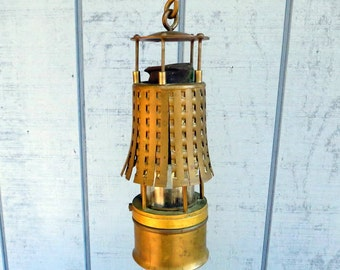 Antique Koehler Mfg. Co. Brass Hanging Safety Lantern