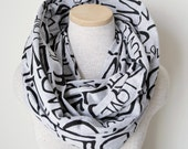 READY TO SHIP - Infinity Scarf - Love Text Scarf - Grey Heather and Black