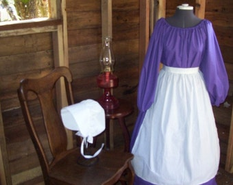 Ladies Colonial Dress Costume Civil War Pioneer Prairie -New Size and Color Choice