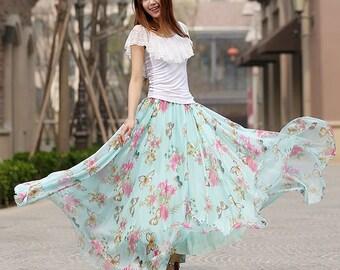 maxi floral skirt, Blue floral print skirt woman chiffon skirt custom made long skirt summer maxi skirt (935)