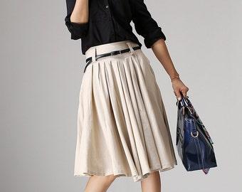 Beige skirt, knee length, pleated midi skirt, A-line skirt, Linen skirt, womens skirts, cream skirt, Custom skirt, Plus size skirt, 1034