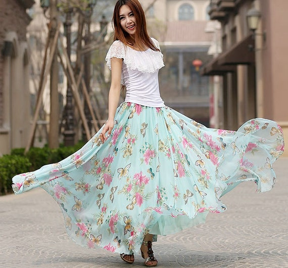 Items similar to maxi floral skirt, Blue floral print skirt woman ...
