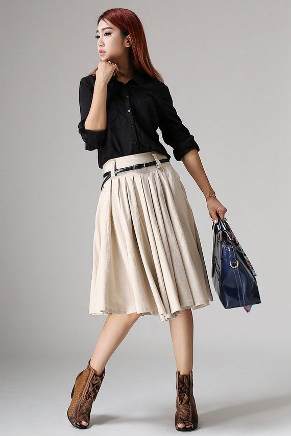 beige skirt knee length pleated midi skirt a line skirt