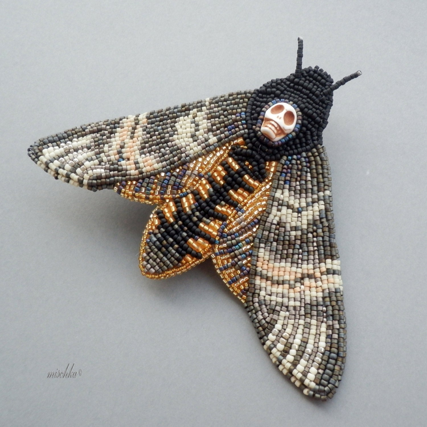 Brooch Beads: Bead Embroidered Brooch Death's-head Hawkmoth