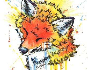 Fox Watercolor Giclee Art Print
