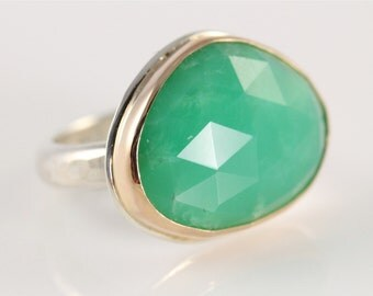 Chrysoprase Cocktail Ring- 14K gold and sterling silver, rose cut free form green chrysoprase