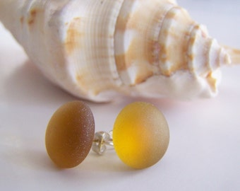 Amber Brown Sea Glass stud earrings - a perfect gift - affordable - holiday - bridesmaids - weddings - sale