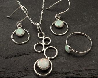 Opal Ring, Opal Necklace, Opal Earrings- Opal Jewelry Set- Sterling Silver Jewelry Set- 3 piece set