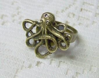Octopus Ring - Oxidized Brass, Adjustable Ring -Steampunk Kraken