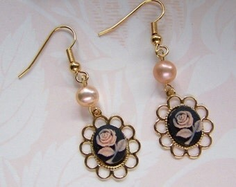 Pink Rose Cameo Earrings - Delicate Pink Rose - Freshwater Pink Pearls - Lolita Tea Party Earrings - Gold Scalloped Lace setting