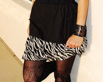 Upcycled Black Skirt with Zebra Print Ruffles Altered Clothing