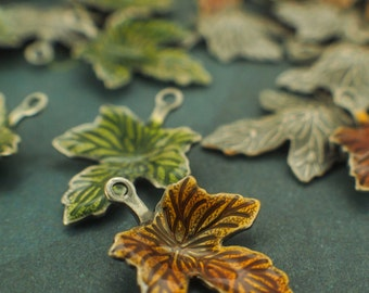 20 Enameled and Antiqued Silver Plated Leaf Drops - With Handmade Jump Rings - Perfect for Bracelets and Earrings - 100% Guarantee