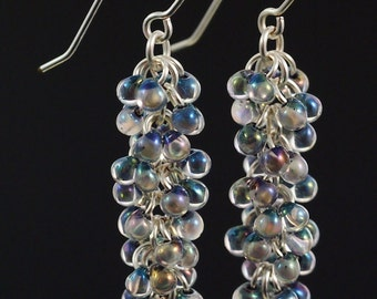 Noir Lined Crystal AB Shaggy Beaded Earrings Kit - Quick and Easy with Miyuki Fringe Beads and Handmade Jump Rings and Ear Wires