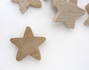 """12 Traditional wooden stars 1 inch (1"""") x 3/16"""" unfinished DIY"""