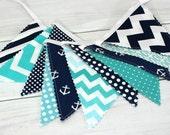 Bunting Banner, Photography Prop, Fabric Flags, Nautical Nursery Decor, Baby - Aqua Blue, Navy Blue, Teal, Chevron, Anchors