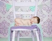 Bunting Banner,Fabric Flags,Girl Nursery Decor,Photography Prop,Garland,Home Decor,Pennant - Lavender, Purple, Gray, Mint Green, Chevron