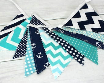 Bunting Banner, Photography Prop, Fabric Flags, Nautical Nursery Decor, Baby - Aqua Blue, Navy Blue, Teal, Chevron, Anchors