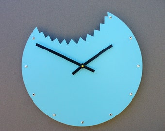 Shark Bite, Medium Wall Clock, Painted Aqua Blue, unique wall clock, modern wall clock, steampunk wall clock, industrial clock