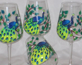 Hand Painted set of four Wine Glasses with Peacocks