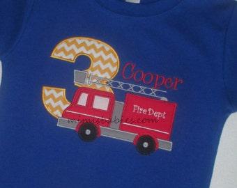 Fire Truck Birthday Shirt  Firetruck Birthday Shirt