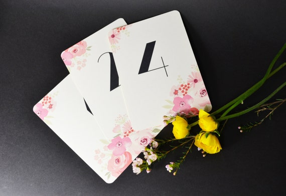 Pretty water colour table number cards