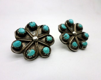Old Vintage Native American Silver and Turquoise Earrings Converted to Posts