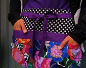 Ready to ship, Vendor Apron - Utility Apron - Craft  - Art Teacher Apron, Radiant Orchid and Modern Colorful Florals w/ Black and White Dots