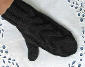 Black Mittens  - Warm with Chunky Cable - Will fit Women or Teens