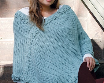 Cable Crochet Plus Size Poncho
