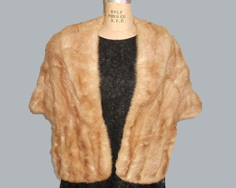 Vintage Mink Fur Stole Shawl Cape 1950's  Blonde Mad Men Hollywood Regency Mid Century Modern Size Small Medium