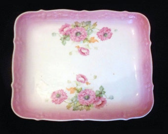 Vintage Vanity Tray  White Pocelain with Scalloped Edges and Pink Floral Bouquets