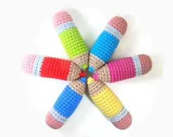 Stuffed Colored Pencil Crayon Amigurumi Toy, Pretend Play School, Crochet Pencil Amigurumi, Set of Three Pick Your Own Colors, MADE TO ORDER
